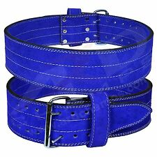 4Fit Genuine Leather Power Heavy Duty Weight Lifting Body building Belt Blue