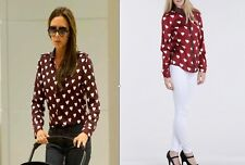 Womens wine red and white heart chiffon blouse in the style of victoria beckham