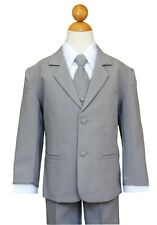 Boys Toddler, Teen Ring Bearer Recital, Easter, Gray/White Suit, Sz:  2T to 14