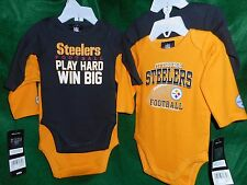 Pittsburgh Steelers Newborn Play Hard 2-Pack Long Sleeve Creeper Set 3454 Infant
