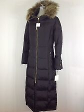 Calvin Klein NWT Long Brown Down Jacket Size L, trimmed with removable faux fur