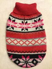 Adorable Coral & Pink Snowflake Knit Dog Sweater - XS - Zack & Zoey - NEW