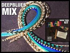 Feather Hair Extensions Natural Grizzly DEEP BLUES XL-XXL Mix 20 4FREE Tools Kit