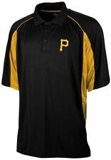 Pittsburgh Pirates MLB Majestic Men's Birdseye Black Polo Shirt Big & Tall Sizes