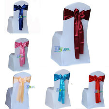 "108"" Satin Chair Cover Sash Ribbon Bow Decoration for Wedding Party Banquet New"