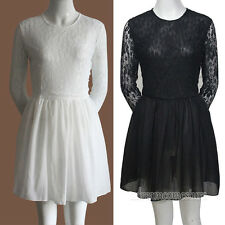 Vintage Women Girl Lace Round Collar Evening Formal Party Mini Dress Black/White