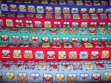 VW CAMPER VANS 100% Cotton Fabric Material BY THE METRE blue cerise purple red