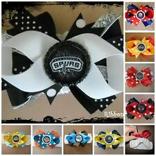 NBA Team Hair Bow With or W/O Headband Baby Toddler *Your Choice *SHIPS FREE