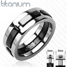 Solid titanium men's ring with Multi Onyx Color Dexter engagement wedding band