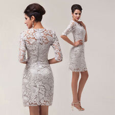 Sexy Short Mother of the Bride Dress Lace Appliques Ruched Stretch Knee Length
