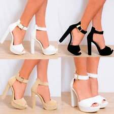 STRAPPY SANDALS PLATFORMS HIGH HEELS ANKLE STRAP PEEP TOES PARTY SHOES SIZE 3-8