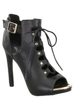 WOMEN'S BLACK FAUX LEATHER PEEPTOE LACE UP CUT OUT ANKLE STRAP HIGH HEEL SANDALS