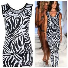 WOMENS LADIES CASUAL SLEEVELESS ZEBRA ANIMAL PRINT STRETCH VEST TOP SIZE 8-14