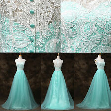 LONG Vintage Lace Mother Bride Evening Bridesmaid Party Dresses Prom Gown 8Size