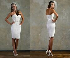 2014 Hot Sale Beaded Sashes Sheath Short Sexy Lace Bridal Wedding Dresses Gowns