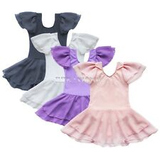 Girl Kid Flutter Ruffle Gymnastics Dance Toddler Ballet Leotard Skirt Tutu 2-14Y