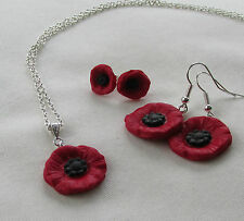 Handmade Fimo Red & Black Poppy Remembrance Flower Charm Necklace Earring Gift *