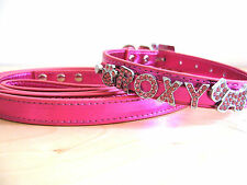 Metallic PULeather Personalized Rhinestone Bling Dog Collar w 5FT Matching Leash
