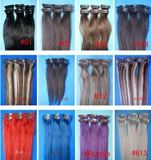 "low price guarantee 100% human hair 15"" 20"" 6PCS clip in human hair extensions"
