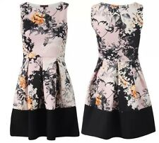WOMENS LADIES CONTRAST BORDER PANEL FLORAL SKATER SKIRT FLARED DRESS SIZE 8-14