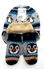 NWT H&M HM Kids Boys Penguin Hat Toboggan and Glove Mitten Set