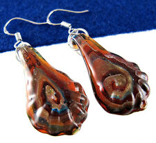 Colored 3D Vortex Art Women's Silver Murano Glass Lampwork Dangle Earring