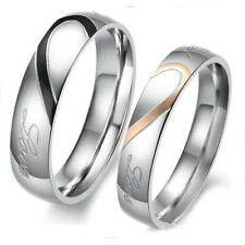 Heart Shape Matching Titanium Steel Lovers Promise Ring Couple Wedding Bands WN#
