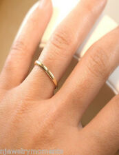 SOLID Yellow Gold 10K 2mm Women Plain Wedding Band All Ring Sizes Available