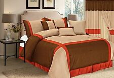 Brown Orange and Taupe 7 Pieces Luxury Quilted Linen Comforter Bed-in-a-bag set
