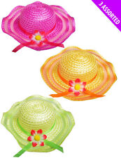Girls Children Easter Bonnet Hats Woven Straw Daisy Spring Ribbon Party Egg Hunt