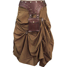steampunk skirt with chains and belt Victorian edwardian style brown skirt