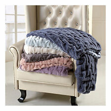 "Luxurious Ruched Oversize Throw/ Blanket  60""x70"" Soft & Comfy"