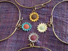 NEW bangle bracelet w Sunflower Charm choice of color USA made Gleeful Peacock