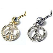 Gold or Silver Stainless Steel Banana Peace Sign Crystal Belly Naval Ring