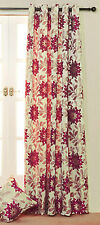 """*SALE* DOOR CURTAIN Red & Beige Jacquard Floral Lined Eyelet Curtain 90"""" drop"""