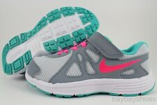 NIKE REVOLUTION 2 PSV WOLF GRAY/HYPER PINK/JADE GREEN VELCRO GIRLS KIDS YOUTH SZ