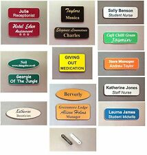 Etched name badges with brooch pin etched with your personal or business text