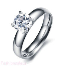 High Polished Stainless Steel Engagement Ring w/ CZ Wedding Band Women's Band