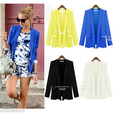 Chic Women Ladies Candy Color Long Sleeve Slim Suit Jacket Blazer Coat S M L XL
