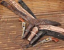 "NEW 44/45 Cal Tooled Holster Gun Belt Drop Loop LEATHER Western CAS SASS 36""-50"""