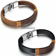 Fashion Men's Black Brown Leather Rope Weaved Wristband Bracelet Bangle Jewelry