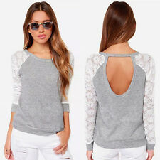 Sexy Fashion Women's Lace Backless T-Shirt Casual Long Sleeve Tops Blouse S-2XL