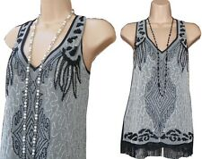 Stunning 1920s Black Grey Vintage Style Beaded Embellished Top - Size 8 10 12 14