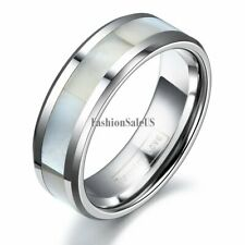 8mm Comfort Fit Polish Tungsten Carbide White Shell Inlaid Ring Men Wedding Band