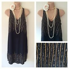 BNWT Flapper vintage 1920's Gatsby beaded embellished sequin Dress 6 8 10 12 14