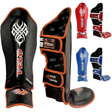 VELO Leather Gel Shin Instep Pads MMA Leg Foot Guards Muay Thai Kick Boxing BLKO