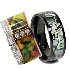 His TITANIUM Camo & Hers STERLING SILVER & STAINLESS STEEL Wedding Ring Set 3pc