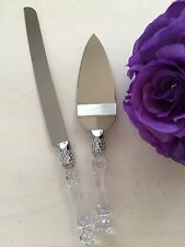 Wedding Party Cake Knife Server Set Faux Crystal Handle and Rhinestone Quince