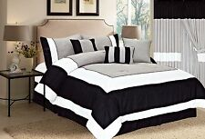7pcs Modern Light Summer Style Black White Grey Luxury Embroidery Comforter Set