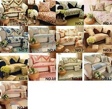 Country Floral Cotton Quilted Couch Sofa Furniture Protector Cover Floor Runner